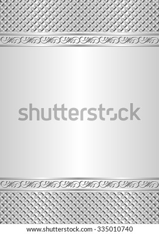 silver background with ornaments - stock vector
