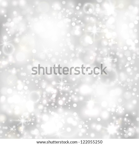 Silver background with stars and twinkly lights. EPS10 - stock vector