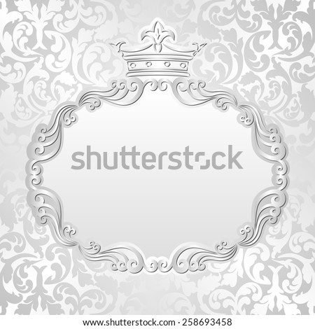 silver background with vintage frame and crown - stock vector