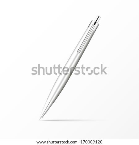 Silver Ballpoint Pen isolated on white. Vector Illustration  - stock vector