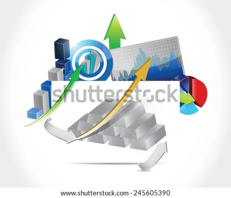 silver bars business concept illustration design over a white background - stock vector
