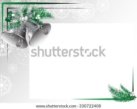 Silver bells with bow and green needles