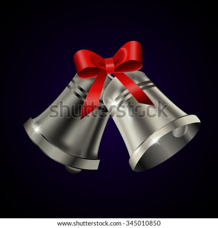 Silver bells with red bow on a blue background. Vector illustration - stock vector