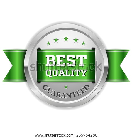 Silver best quality badge with green ribbon on white background