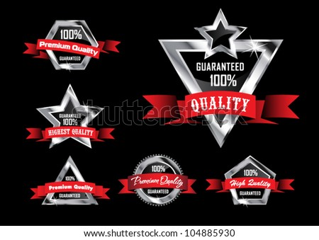Silver-Black Premium Quality Labels with Red Ribbons - stock vector