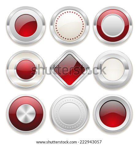 Silver blank badge collection on white background