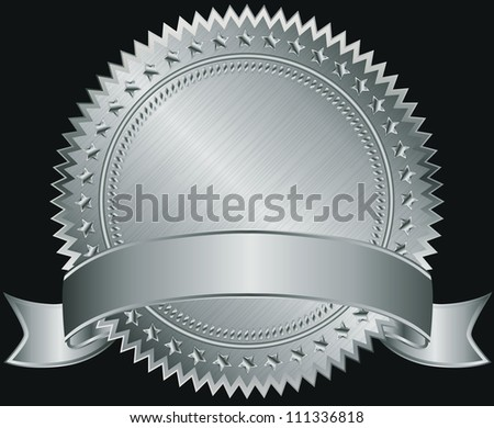 Silver blank label with silver ribbon, vector illustration - stock vector