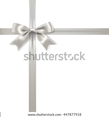 silver bow decoration and ribbon on white background. vector - stock vector
