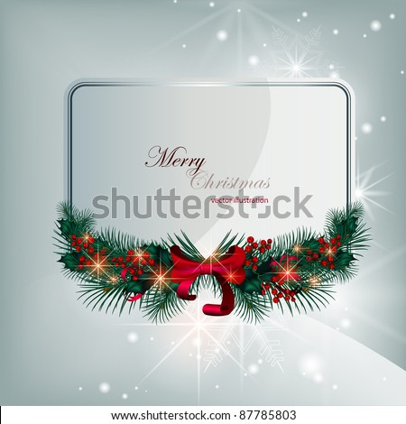 Silver brilliant vector christmas card with decorative elements of coniferous branches and berries - stock vector