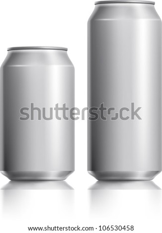 Silver can vector visual 330 ml & 500 ml, ideal for beer, lager, alcohol, soft drink, soda, fizzy pop, lemonade, cola, energy drink, juice, water etc. Drawn with mesh tool. Fully adjustable & scalable - stock vector