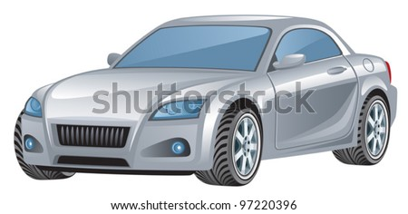 Silver car - stock vector