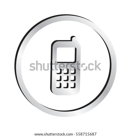 Silver Cell Phone Icon