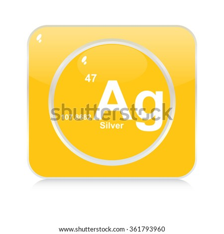 silver chemical element button - stock vector