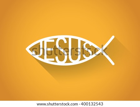 silver christian fish symbol in a flat design, illustration