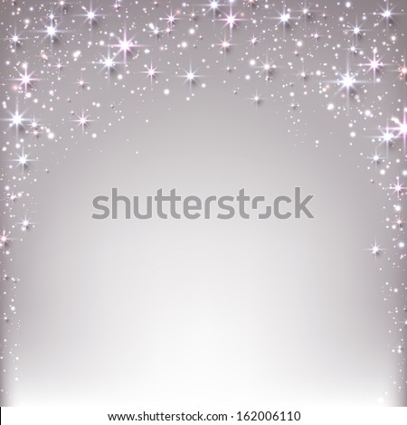 Silver christmas abstract texture background. Holiday illustration with stars and sparkles. Vector.  - stock vector