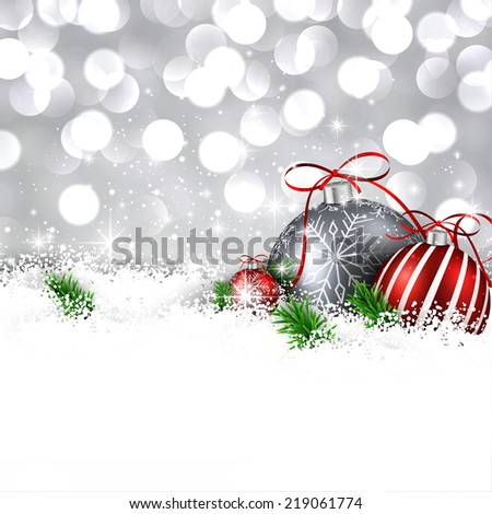 Silver christmas background with fir branches and balls. Vector illustration. - stock vector