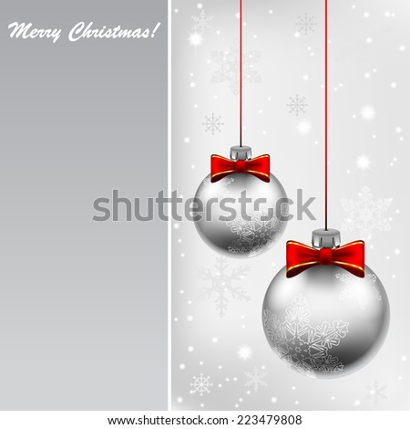 Silver Christmas Ball. Decorations with red ribbon on holidays background. Vector. Illustration. - stock vector