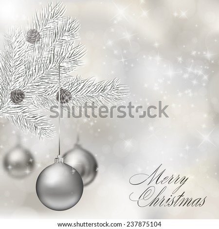 Silver Christmas balls on abstract light grey background. Xmas greeting card. Vector eps10 illustration - stock vector