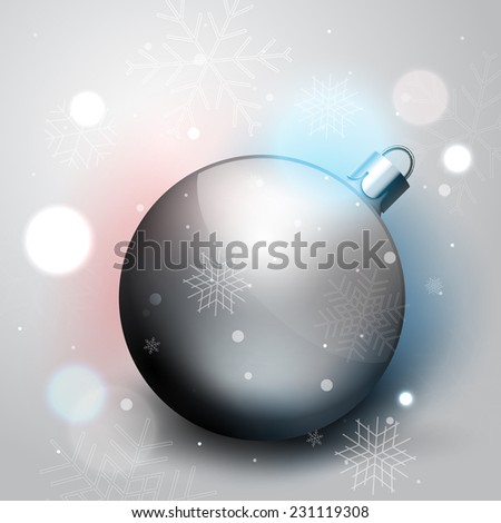 Silver Christmas decoration ball, vector winter illustration