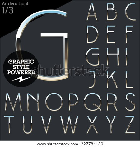 Silver chrome and aluminum vector alphabet set. Artdeco normal. File contains graphic styles available in Illustrator - stock vector