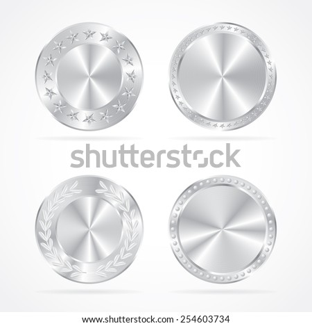 Silver coins vector set. - stock vector