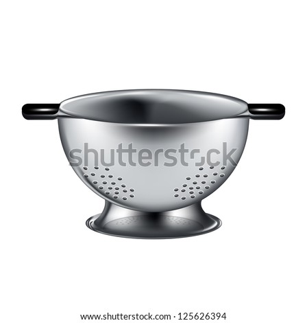 silver colander isolated on white background
