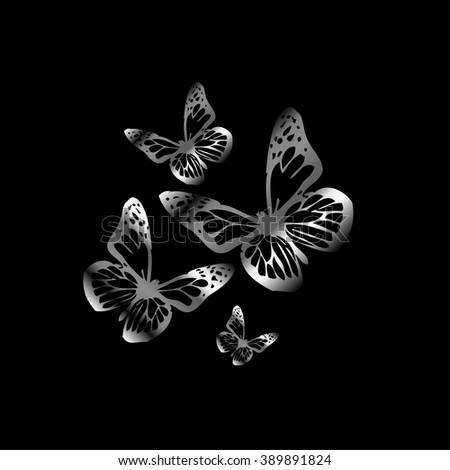 Silver colored butterflies flying on black - stock vector