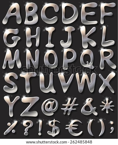 Silver coloured letters of the alphabet - stock vector