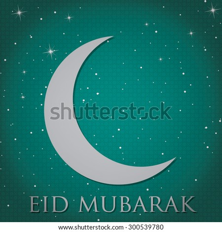 "Silver crescent moon ""Eid Mubarak"" (Blessed Eid) card in vector format. - stock vector"