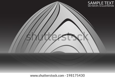 Silver curved shape background illustration reflected - Metal curved modern design  template reflected - stock vector