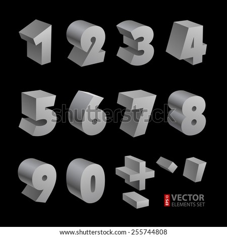 Silver 3d numbers isolated font on black background. RGB EPS 10 vector elements set - stock vector