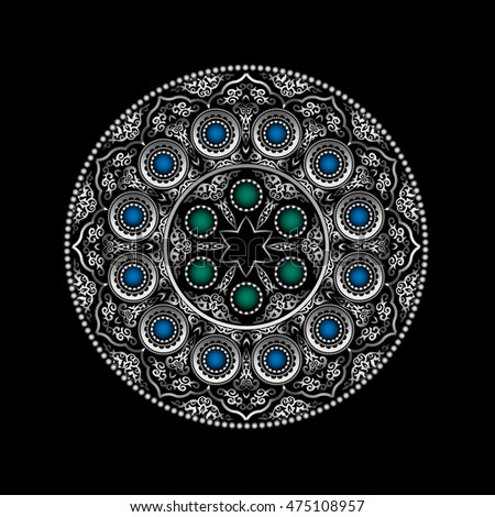 Silver 3D Round Ornament Pattern with Blue and Green gemstones - Arabic, Islamic, East style. Vector illustration for greeting card, postcard, invitation, poster, banner etc