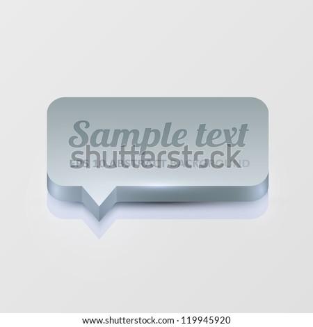 Silver 3d speech bubble - stock vector