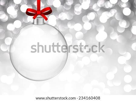 Silver defocused background. Bright bokeh. Glass ball. Vector.  - stock vector