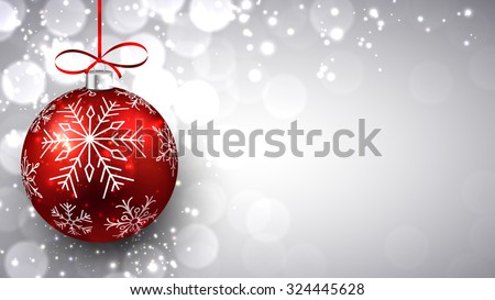 Silver defocused background with red christmas bauble and place for text. Vector.  - stock vector