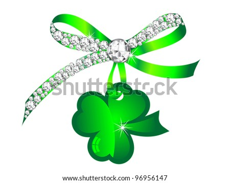 Silver diamond ribbon with glass green clover
