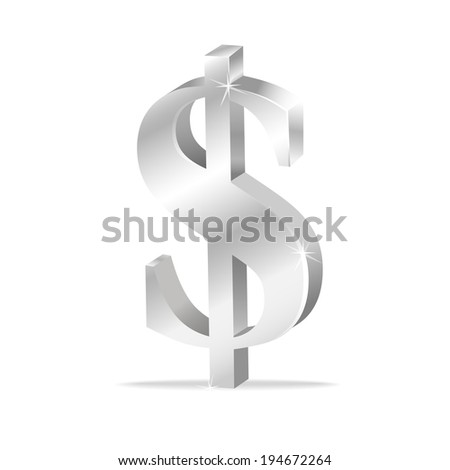 Silver dollar sign isolated on white background. Vector illustration - stock vector