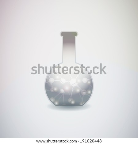 Silver elixir in test tube icon with molecular inside on colorful background art - stock vector
