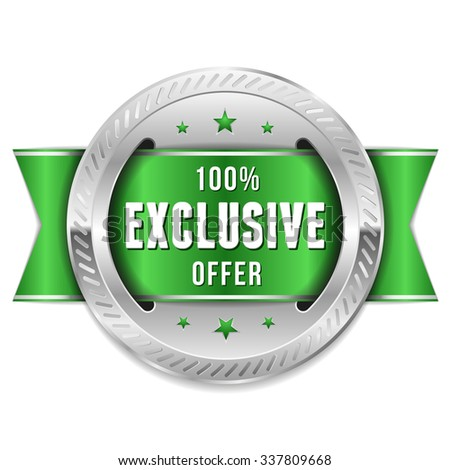 Silver Exclusive Offer Rosette With Green Ribbon - stock vector