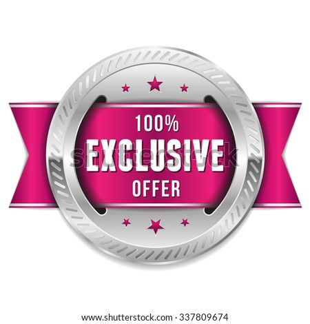 Silver Exclusive Offer Rosette With Purple Ribbon - stock vector