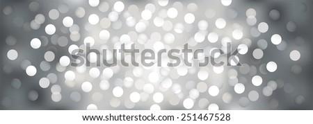 Silver festive lights, vector  background. - stock vector