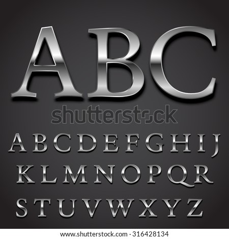 Silver font Vector set -  uppercase letters character part - stock vector