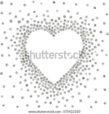 Silver frame in the shape of heart on white background. Pattern of golden acrylic confetti. Design element for festive banner, card, invitation, label, postcard, vignette. Vector illustration. - stock vector