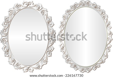 silver frames with decorative border - stock vector