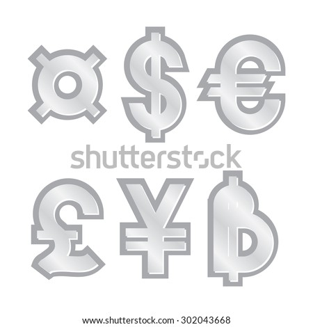 silver generic currency symbol vector illustration