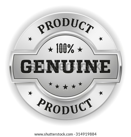 Silver Genuine Product Badge On White Background - stock vector