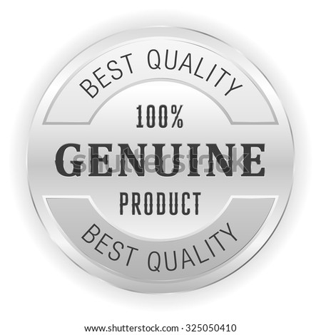Silver genuine product button on white background - stock vector