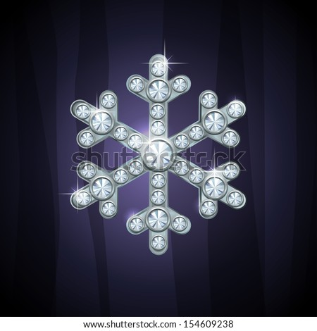 Silver glamour jewelry snowflake for celebratory design