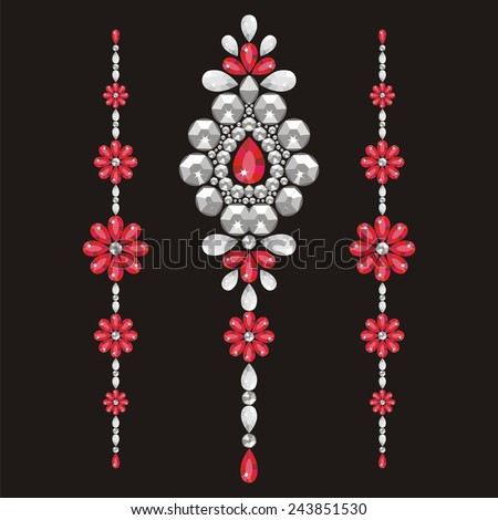 Silver glamour rich necklace female with red precious stones, fashion print t-shirt shine from brilliant stones,gift for a wedding,birthday, Valentine's Day - stock vector. Banner for a jewelry store  - stock vector