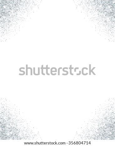 Silver glitter background. Silver sparkle frame for your text. Template for holiday designs, invitation, party, birthday, wedding. - stock vector